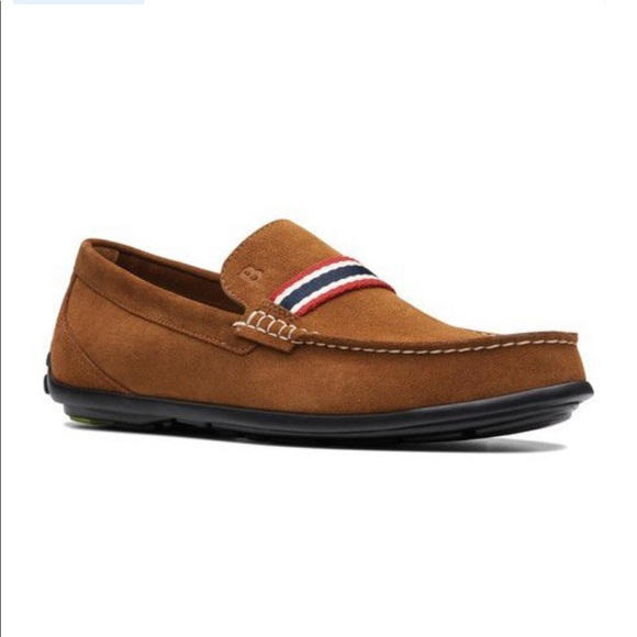 Bostonian Brown Slide On Loafers Red White Blue